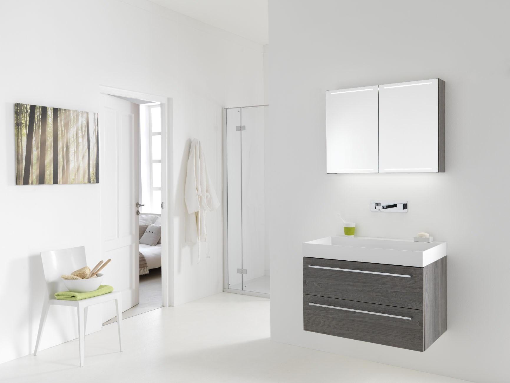 Badkamermeubel houtkleur met Deluxe spiegelkast Nuance