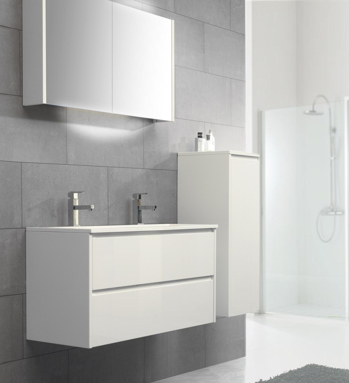 Badkamermeubels Beat 1 inliggend wit hoogglans schuin
