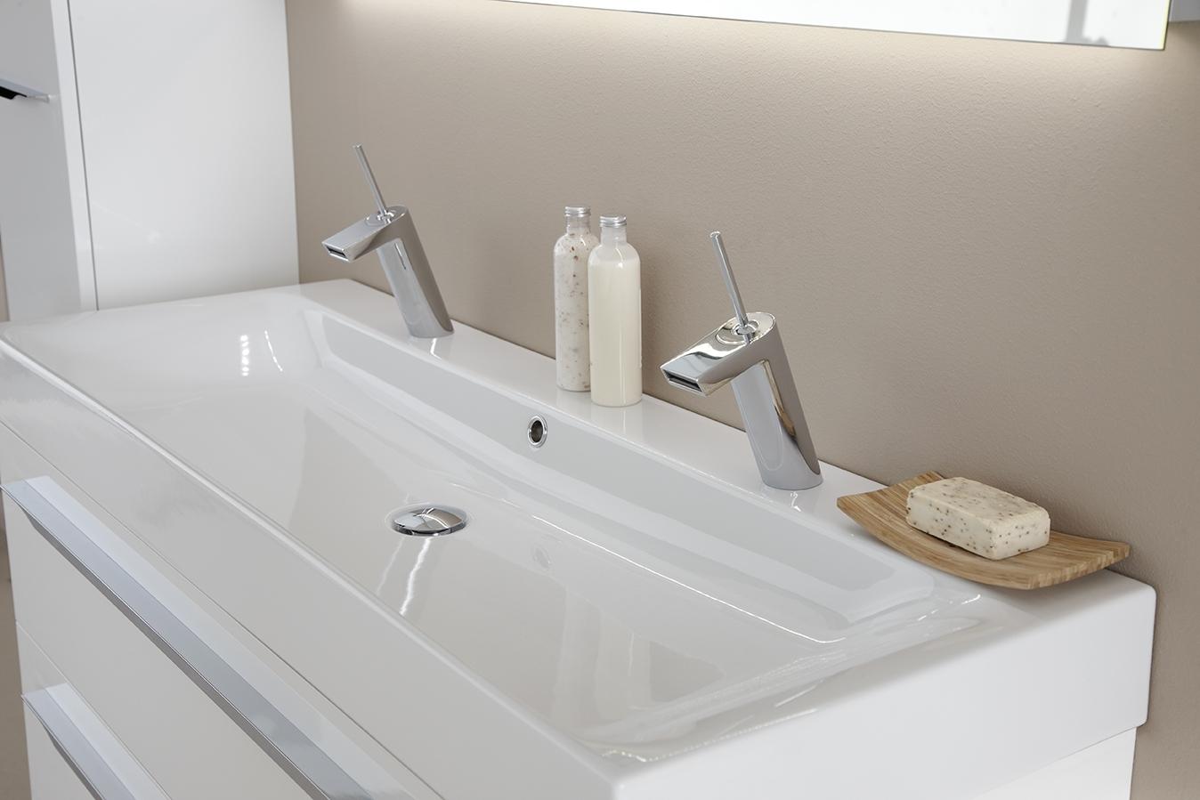 Ceramic line cm wastafel noa op wit hoogglans meubel